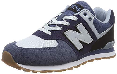 New Balance Unisex-Kinder 574 Sneaker, Blau (Pigment/Black MLA), 34.5 EU -