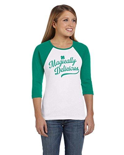 Crazy Dog Tshirts Womens Magically Delicious Raglan Shirt Ringer Tee for Saint Patricks Day (Green) XXL - Damen - XXL (Tee Tag Pattys)