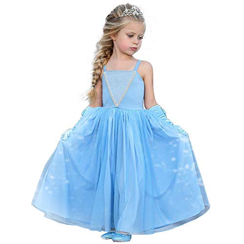 CQDY Cinderella Kostüm Kleid Für Kinder Mädchen Princess Kostüm Halloween Fancy Party Dress up Outfit Cosplay Kleider (ELSA blau, 6-7 Jahre (120cm))