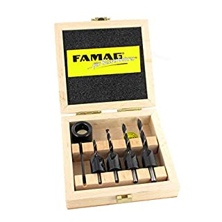 Famag 3574504 5-Piece Twist Drill Bit with Clip-On Countersink Diameter 3-6 mm with Practical Wooden Box