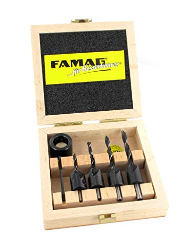 Famag Senkbohrer, 5-teilig, Spiralbohrer mit Aufsteckversenker, Größe ø 3-6 mm, mit praktischer Holzbox – 3574504