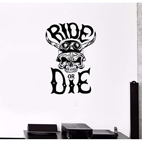 rage Wanddekor Aufkleber Skeleton Schädel Racer Straßenfahrer Horn Fahrt Vinyl Aufkleber Removable Home Decoration Wandbild 57 * 81 Cm ()