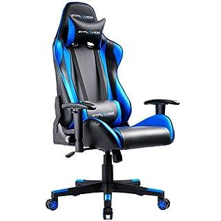 GTPLAYER Gaming Stuhl Bürostuhl Schreibtischstuhl Kunstleder Drehstuhl Chefsessel Höhenverstellbarer Gamer Stuhl Ergonomisches Design mit Verstellbaren Armlehnen und Wippfunktion