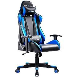 GTPLAYER Gaming Stuhl Racing Stuhl Bürostuhl Kunstleder PU Chefsessel Höhenverstellbarer Schreibtischstuhl Ergonomisches Design mit Verstellbaren Armlehnen und Wippfunktion