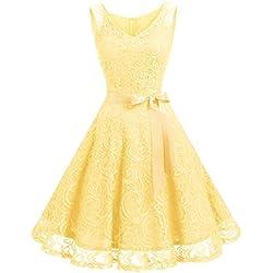 Dressystar Vestido Fiesta Corto Flor Encaje Elegante Mujer Sin Mangas para Dama De Honor Amarillo XS
