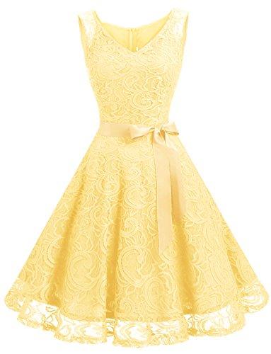 Dressystar Vestido Fiesta Corto Flor Encaje Elegante Mujer Sin Mangas para Dama De Honor Amarillo XXXL