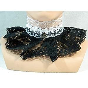 Halsband schwarz weiß Kreuz Burlesque sexy Lolita Gothic Karneval Pin up Choker