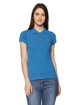 Park Avenue Woman Plain T-Shirt (PWKB00204-B6_Dark Blue_S)