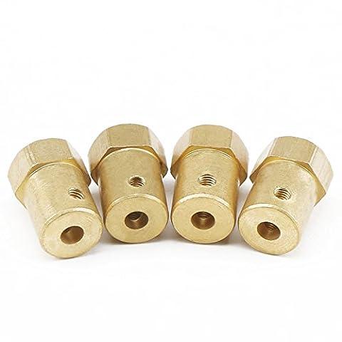 DROK® 4 Packs 4mm Flexible Hex Couplage Copper Cylinder Motor Shaft Coupler Connecteur appropriés pour DC moteur à engrenages / Smart Auto / RC Modèle Roues