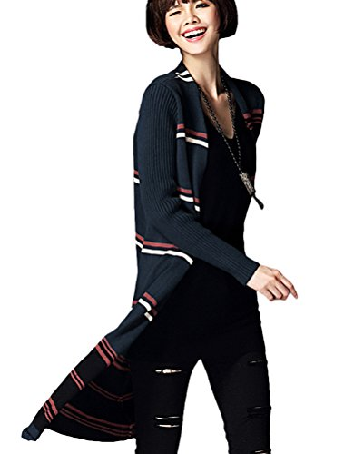 MatchLife Damen Langarm Lang Cardigan Mantel Style1 Navy Blau