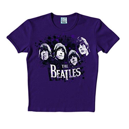 Beatles T-Shirt - The Beatles Shirt - Heads T-Shirt - Rundhals T-Shirt von Logoshirt - lila - The Fab Four - Lizenziertes Originaldesign, Größe XS (Die Beatles-vintage-t-shirt)