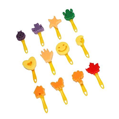 Sharplace 12 Stück Verschiedenen Formen Schwamm Stempel Schaumstoff Pinsel, Kinder Kreative Art Malerei Werkzeug