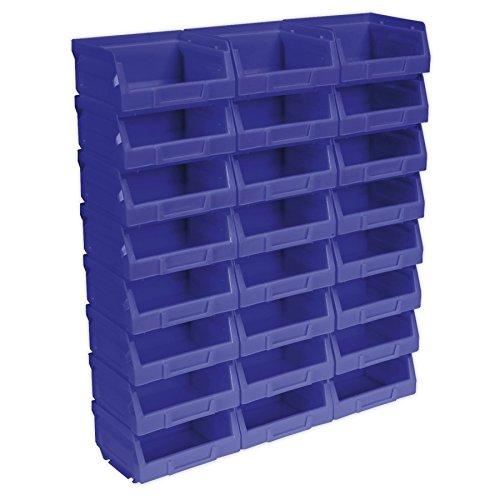 Sealey tps124b plástico de almacenamiento bin, 103x 85x 53mm, azul, juego de...