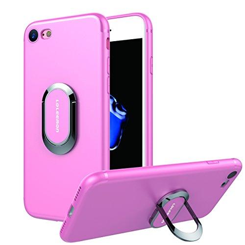 Custodia per iPhone 7 plus con Anello da Kickstand da LOLEEMON, Custodia Girevole a 360 Gradi per iPhone 7 plus Doppio Strato Protezione Antiurto per Apple iPhone 7 plus (iPhone) (iphone 7 plus, blue) Pink