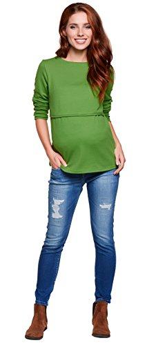 Be! Mama - 2in1 Umstandspullover, Sweatshirt, Still-Pulli, Modell: LUGO Grün