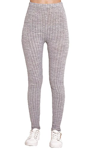 MyMixTrendz Womens Ladies Warm Thick Ribbed Chunky Cable Knit Full Length Stretchy Leggings Pants Knit Harem Pants