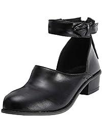 Sandalias individuales tacón alto de mujer,Sonnena Zapatos de cremallera de mujer de moda Zapatos sencillos de boca baja Zapatos de tacón grueso