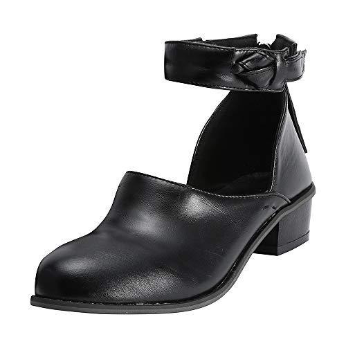 Fuibo Damen Stiefel, Mode Frauen Zipper Schuhe Flacher Mund Einzelne Schuhe Starke Ferse Schuhe | Stiefeletten Ankle Boots Schlupfstiefel Chelsea Boots (40.5 EU, Schwarz) -
