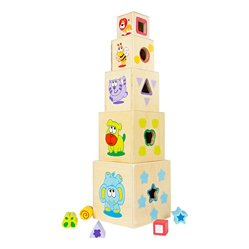 ColorBaby - 5 tower wooden cubes 52 cm & 5 geometric figures (43609)