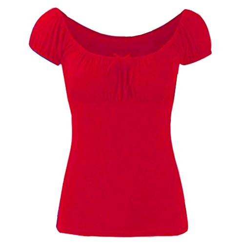 Womens Boho Ruched Off Shoulder Ladies Bow Tie Knot Gypsy T Tee Shirt Vest Top