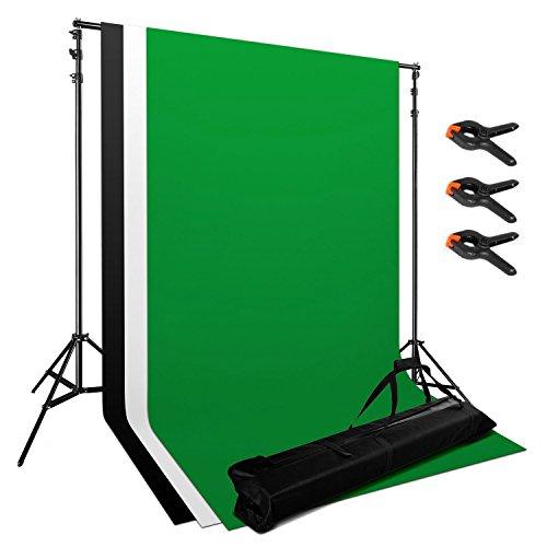 Profi Fotostudio Hintergrundsystem Komplettset 200cm x 200cm Hintergrundsystem Fotoständer Kit inkl. 10 ft x 5,2 ft-Chroma-Key Foto Hintergrund Bildschirm Chromakey (1,6 m x 3 m) stoff weiß schwarz grün + Tasche + Studioklemmen