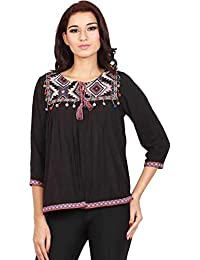DJ & C By fbb Casual Regular Sleeve Embroidered Women Black Top