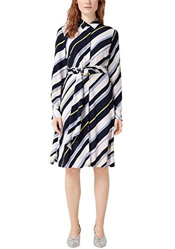 s.Oliver BLACK LABEL Damen 11.904.82.8828 Kleid, Blau (Blue AOP 59a4), Herstellergröße: 38 Damen-elf