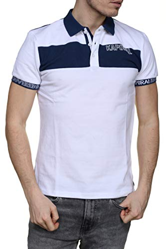Kaporal - Polo MILESE Blanc col Blanc avec Bande Bleus - Couleur: Blanc - Taille: L
