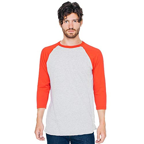 American Apparel - Unisex Poly-Cotton 3/4 Sleeve Raglan T-Shirt/Heather Grey/red, L -