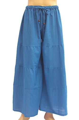 ChiangmaiThaiShop Damen Palazzo Lose Hose Elastische Taille Cropped Wide Leg Pants - Blau - Mittel -