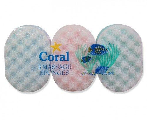 Coral Packung mit 3 Massageschwämme