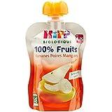 Hipp Biologique 100% Fruits Bananes Poires Mangues dès 4/6 mois - 6 gourdes de 90 g