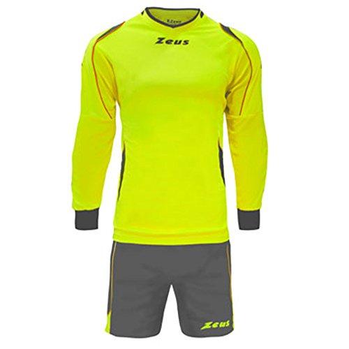 Zeus Kit GK Paros Herren Kinder Torwart Set Trikot Shirt Short Hosen Kit Fußball Hallenfußball Gelb Grau (M)