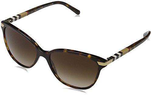 Burberry Unisex BE4216 Sonnenbrille, Mehrfarbig (Gestell: havana, Gläser: braun-verlauf 300213), Large (Herstellergröße: 57)