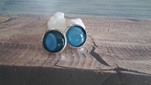 Handmade, Cabochon Ohrstecker, Uni Mittel Blau