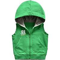 Chaqueta Sin Mangas con Capucha De Punto para Niños Primavera Y Otoño para Niños Y Niñas Blusa De Color Sólido Chaleco De Bebé-130Cm, Verde