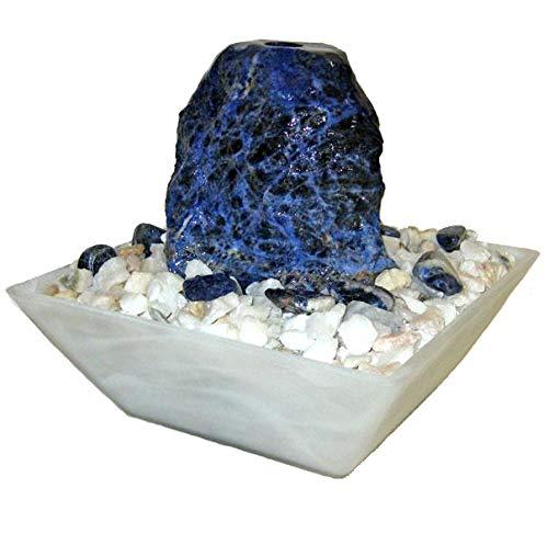 Troester\'s Brunnenwelt Selina Sodalith mit Pumpe und Zierkiesel, Quellstein aus echtem Sodalith, Kleiner Tischbrunnen für zu Hause (Sodalith)