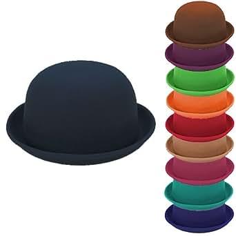 Jazooli 100% Wool Plain Womans Fashion Vouge Vintage Bowler Derby Hat Cap - Black