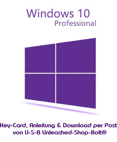 MS Windows 10 Pro Professional LIZENZ KEY - vorab E-Mail Versand (24 Std.) + Postbrief / 32 & 64 Bit - Vollversion - Original Lizenzschlüssel - 1 PC + Anleitung von U-S-B Unleashed-Shop-Bolt®