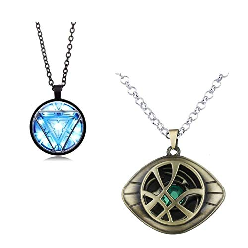LADY HAWK Marvel Avengers Collectible - Doctor Strange Gold & Iron Man Arc Reactor Black SLV4 Imported Metal Pendant Necklace with Chain for Men & Women. Captain Avenger 2 Pcs Set.