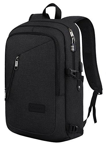 Mancro Anti-Diebstahl-Business-Laptop-Rucksack mit USB-Ladeanschluss passt 15,6 Zoll Laptop, schwarz (Checkpoint-freundlich Rucksack)