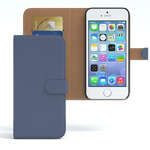 EAZY CASE Hülle für Apple iPhone 5 / 5S / SE Hülle Bookstyle mit Standfunktion Book-Style Case aufklappbar, Schutzhülle, Flipcase, Flipstyle, Flipcover mit 2 Kartenfächern aus Kunstleder, Dunkelblau (Buch Handy Cover Iphone 5)