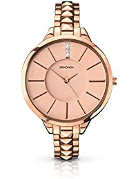 Sekonda Women's Quartz Watch with Pink Dial Analogue Display and Rose Gold Stainless Steel Bracelet 2015.27