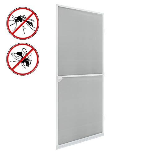 ECD Germany Fliegengitter mit Rahmen aus Aluminium - 100x220 cm - Weiß - wetterfestes Moskitonetz aus Fiberglasgewebe für Tür