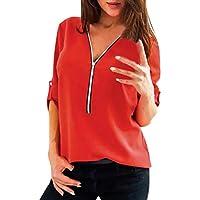 Damen T Shirt,Geili Frauen Herbst Casual Sexy Tops Shirt Damen V-Ausschnitt Reißverschluss Lose T-Shirt Bluse... preisvergleich bei billige-tabletten.eu
