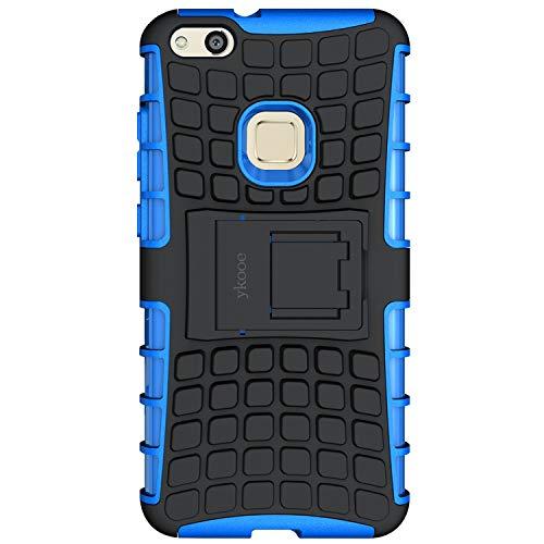 ykooe Huawei P10Lite Schutzhülle, (Silikon Serie) Huawei P10Lite Heavy Duty Schutz Hybrid stoßfest Dual Layer Schutzhülle mit Ständer für Huawei P10Lite Fall, Huawei P10 Lite Blue