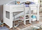 Froschkönig24 Hochbett ANDI 1 Kinderbett Spielbett halbhohes Bett Weiß