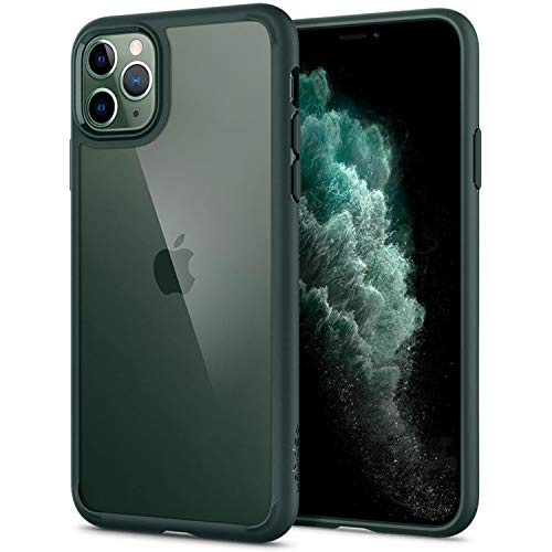 Spigen Ultra Hybrid compatibile con iPhone 11 Pro, cover in policarbonato trasparente per iPhone 11 Pro Case Midnight Green ACS00417