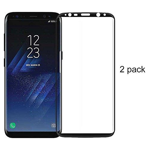 Preisvergleich Produktbild (2 Pack)Samsung Galaxy S8 Panzerglas - 3D Premium Full Coverage Gehärtetem Glas Schutzfolie Displayschutzfolie Panzerglas für Samsung Galaxy S8 - Schwarz