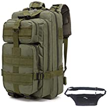3fd0090d40 QHIU Zaino Militare Tattico con Marsupio di Tela Molle Assault Camo per  Campeggio Breve Viaggi Alpinismo